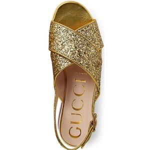 c40dcaad631 Gucci Shoes - Gucci • Glitter Crossover Platform Sandal